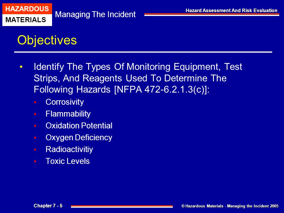 Objectives Identify The Types Of Monitoring Equipment, Test Strips, And Reagents Used To Determine The Following Hazards [NFPA 472-6.2.1.3(c)]: